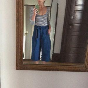 Hi Rise Wide Leg Chambray Tie Waist Crop Pants